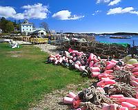 Pink fishing floats in Stonington, Maine