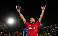 Crusaders Richie Mo'unga celebrates following the 2018 Super Rugby final between the Crusaders and Lions at AMI Stadium in Christchurch, New Zealand on Sunday, 29 July 2018. Photo: Joe Johnson / lintottphoto.co.nz