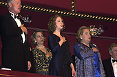 Chelsea Clinton sings the National Anthem at the Kennedy Center Honors at the John F. Kennedy Center in Washington, D.C. on Sunday, December 3, 2000. United States President Bill Clinton is at left and U.S. Secretary of State Madeleine Albright is at right..Credit: Ron Sachs / Pool via CNP