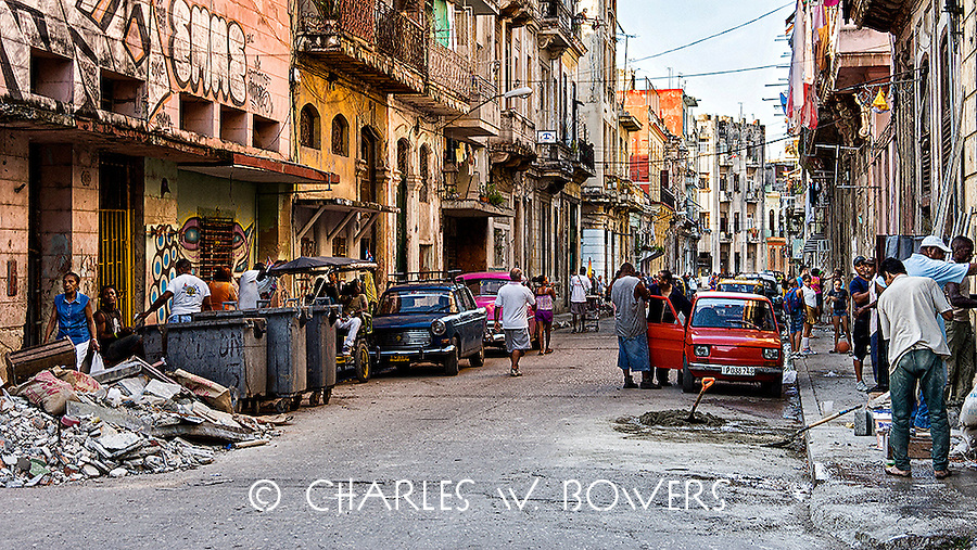 Everyday Cuba a typical Havana street full of activity<br />