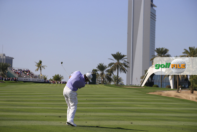 LEE WESTWOOD (ENG) plays his 2nd shot on the 8th hole during Sunday's Final Round of the 2015 Omega Dubai Desert Classic held at the Emirates Golf Club, Dubai, UAE.: Picture Eoin Clarke, www.golffile.ie: 2/1/2015