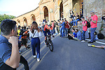 Grega Bole (SLO) Bahrain-Merida on the San Luca climb during Stage 1 of the 2019 Giro d'Italia, an individual time trial running 8km from Bologna to the Sanctuary of San Luca, Bologna, Italy. 11th May 2019.<br /> Picture: Eoin Clarke | Cyclefile<br /> <br /> All photos usage must carry mandatory copyright credit (© Cyclefile | Eoin Clarke)