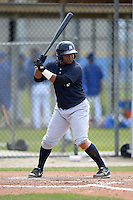 Catcher Eduardo DeOleo (21) of the New York Yankees organization during a minor league spring training game against the Toronto Blue Jays on March 16, 2014 at the Englebert Minor League Complex in Dunedin, Florida.  (Mike Janes/Four Seam Images)