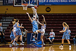 GRAND RAPIDS, MI - MARCH 18: Michela North (24) of Tufts University defends the goal as Meredith Doswell (13) of Amherst College goes in for a shot during the Division III Women's Basketball Championship held at Van Noord Arena on March 18, 2017 in Grand Rapids, Michigan. Amherst College defeated Tufts University 52-29 for the national title. (Photo by Brady Kenniston/NCAA Photos via Getty Images)