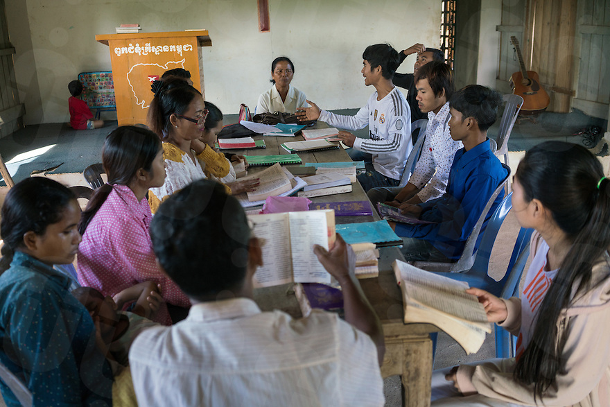 November 27, 2016 - Pailin (Cambodia). Morm Phin (75) leads the Sunday's service. Morm was working as a supervisor in a garment factory during the Khmer Rouge's regime and she is now a pastor in small church outside Pailin town. © Thomas Cristofoletti / Ruom