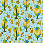 Seamless repeat pattern tile vector with cute bunnies and colorful forest trees. Ideal for surface prints.<br /> <br /> <br /> Available also as latest EPS format (Scalable to infinite size) and PNG format.<br /> <br /> WANT TO ZOOM IN ON JUST THE BASE TILE OF THIS PATTERN TO HAVE A CLOSER LOOK?<br /> <br /> You can also find the image of a single tile of this pattern in this gallery.<br /> <br /> Tip: It should be the image next to this one, or, just search &quot;seamless+bunnies+woods&quot;!