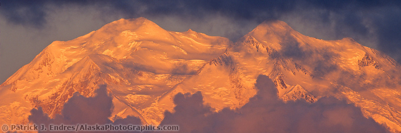 North And South Peaks Of Denali, North America's Highest Mountain, Viewed From Stony Dome, Storm Clouds At Sunrise, Denali National Park, Alaska