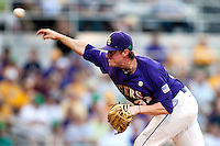 LSU Tigers pitcher Ryan Eades #37 delivers against the Mississippi State Bulldogs during the NCAA baseball game on March 17, 2012 at Alex Box Stadium in Baton Rouge, Louisiana. The 10th-ranked LSU Tigers beat #21 Mississippi State, 4-3. (Andrew Woolley / Four Seam Images)