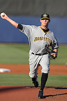 Bradenton Marauders pitcher Tyler Waldron #25 delivers a pitch during a game against the Charlotte Stone Crabs at Charlotte Sports Park on April 27, 2012 in Port Charlotte, Florida.  Bradenton defeated Charlotte 9-2.  (Mike Janes/Four Seam Images)