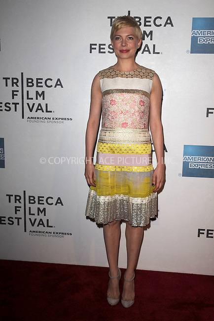 WWW.ACEPIXS.COM . . . . . .April 22, 2012...New York City....Michelle Williams arriving to the Tribeca Film Festival premiere of Take This Waltz at the BMCC/TPAC on April 22, 2012 in New York City ....Please byline: KRISTIN CALLAHAN - WWW.ACEPIXS.COM.. . . . . . ..Ace Pictures, Inc: ..tel: (212) 243 8787 or (646) 769 0430..e-mail: info@acepixs.com..web: http://www.acepixs.com .