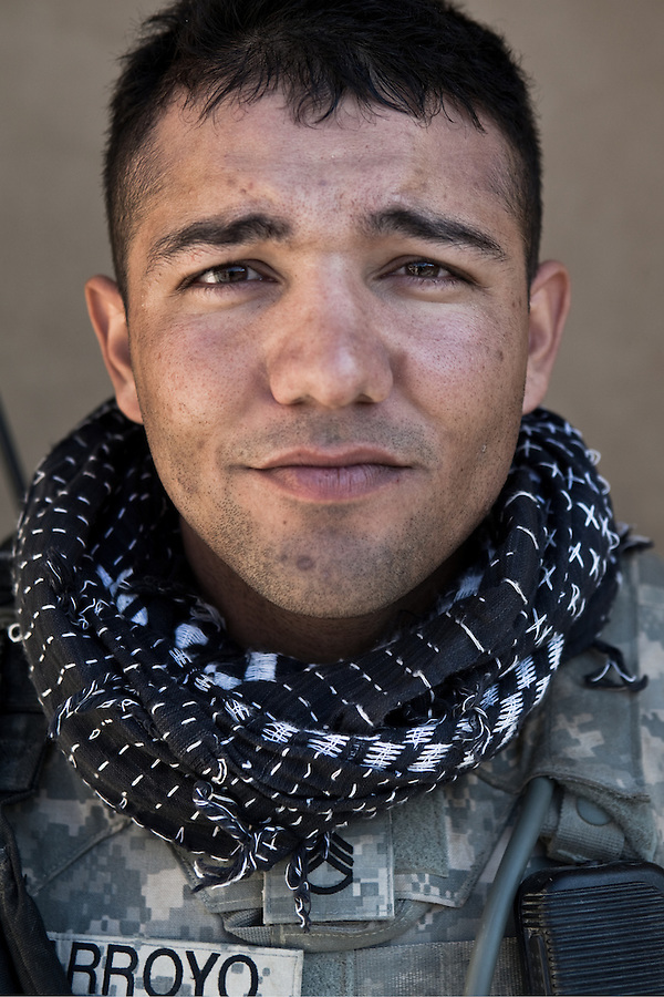 Staff Sgt. Israel Casillas-Arroyo. La Puente, California. 25. Charlie Co. 1st Battalion 12th Infantry Regiment, 4th Infantry Division. Photographed at Combat Outpost JFM in Zhari District, Kandahar, Afghanistan.
