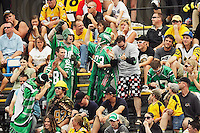 July 12, 2008; Hamilton, ON, CAN; Saskatchewan Roughriders supporters celebrate during the CFL football game against the Hamilton Tiger-Cats at Ivor Wynne Stadium. The Roughriders defeated the Tiger-Cats 33-28. Mandatory Credit: Ron Scheffler.