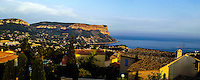 Cassis is a popular tourist destination by the Mediterranean coast in southern France, famous for its cliffs (falaises) and the sheltered inlets called calanques. Panorama.