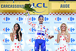 Julian Alaphilippe (FRA) Quick-Step Floors retains the climbers Polka Dot Jersey at the end of Stage 15 of the 2018 Tour de France running 181.5km from Millau to Carcassonne, France. 22nd July 2018. <br /> Picture: ASO/Alex Broadway | Cyclefile<br /> All photos usage must carry mandatory copyright credit (&copy; Cyclefile | ASO/Alex Broadway)
