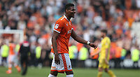 Blackpool's Michael Nottingham pleased at his teams victory at the final whistle<br /> <br /> Photographer Stephen White/CameraSport<br /> <br /> The EFL Sky Bet League One - Blackpool v Fleetwood Town - Monday 22nd April 2019 - Bloomfield Road - Blackpool<br /> <br /> World Copyright © 2019 CameraSport. All rights reserved. 43 Linden Ave. Countesthorpe. Leicester. England. LE8 5PG - Tel: +44 (0) 116 277 4147 - admin@camerasport.com - www.camerasport.com