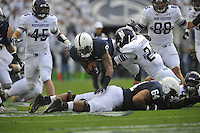 06 October 2012:  Northwestern S Ibraheim Campbell (24) hits Penn State WR Allen Robinson (8). The Penn State Nittany Lions defeated the Northwestern Wildcats 39-28 at Beaver Stadium in State College, PA.