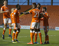 Blackpool's Armand Gnanduillet celebrates scoring the opening goal with team-mates <br /> <br /> Photographer Stephen White/CameraSport<br /> <br /> The EFL Sky Bet League One - Blackpool v Burton Albion - Saturday 24th November 2018 - Bloomfield Road - Blackpool<br /> <br /> World Copyright © 2018 CameraSport. All rights reserved. 43 Linden Ave. Countesthorpe. Leicester. England. LE8 5PG - Tel: +44 (0) 116 277 4147 - admin@camerasport.com - www.camerasport.com