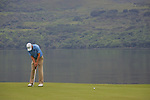 Ross Fisher lines up his putt on the first.on the final day of the 3 Irish Open, at the Killarney Golf and Fishing Club, Killarney, Ireland.Picture Fran Caffrey/www.golffile.ie.