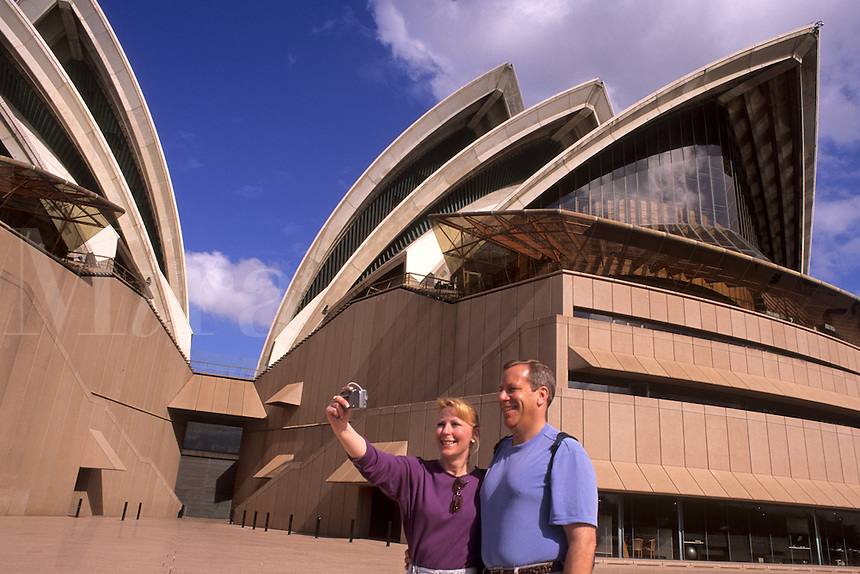 Tourists at Famous Sydney Opera House in New South Wales Australia