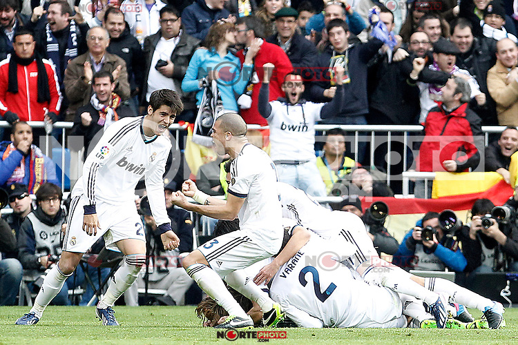 Real Madrid's Alvaro Morata, Pepe, Raphael Varane and other partners celebrate goal during La Liga match.March 02,2013. (ALTERPHOTOS/Acero) /NortePhoto