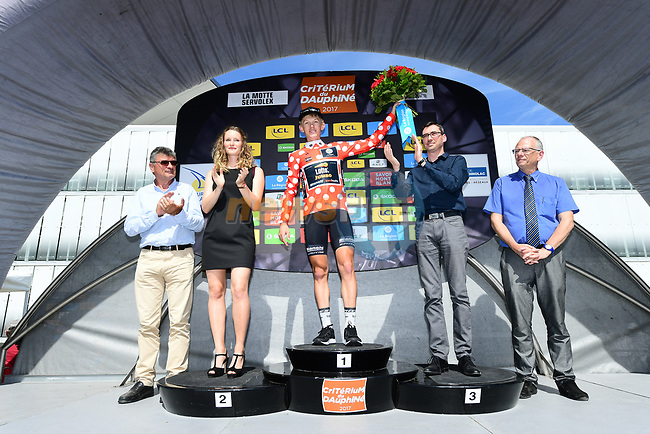 Koen Bouwman (NED) Lotto NL-Jumbo retains the mountains polka dot jersey on the podium at the end of Stage 6 of the Criterium du Dauphine 2017, running 147.5km from Parc des Oiseaux - Villars-les-Dombes to La Motte-Servolex, France. 9th June 2017. <br /> Picture: ASO/A.Broadway | Cyclefile<br /> <br /> <br /> All photos usage must carry mandatory copyright credit (&copy; Cyclefile | ASO/A.Broadway)