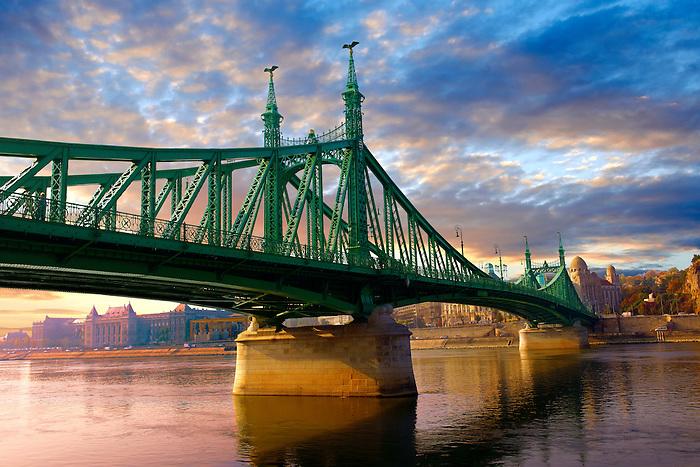 Liberty or Freedom Bridge (Szabadság híd,) looking towards the Hotel Gellert. Budapest, Hungary