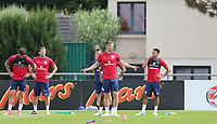 Gary Cahill (2nd right)(Chelsea) of England jokes with teammates during an open England football team training session at Stade Omnisport, Croissy sur Seine, France  on 12 June 2017 ahead of England's friendly International game against France on 13 June 2017. Photo by David Horn/PRiME Media Images.
