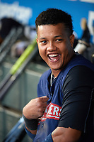 New York Yankees second baseman Starlin Castro (14), on a rehab assignment with the Scranton/Wilkes-Barre RailRiders, in the dugout during the first game of a doubleheader against the Rochester Red Wings on August 23, 2017 at Frontier Field in Rochester, New York.  Rochester defeated Scranton 5-4 in a game that was originally started on August 22nd but was postponed due to inclement weather.  (Mike Janes/Four Seam Images)