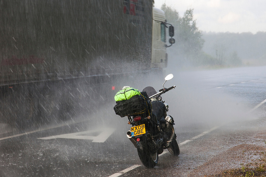 Shakhovskaya, Russia, 24/07/2013.<br /> Torrential rain on the M9/E22 Baltic highway to Moscow.