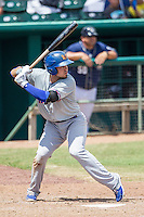 Midland RockHounds first baseman Renato Nunez (34) at bat during the Texas League baseball game against the San Antonio Missions on June 28, 2015 at Nelson Wolff Stadium in San Antonio, Texas. The Missions defeated the RockHounds 7-2. (Andrew Woolley/Four Seam Images)
