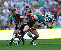 Aviva Premiership Final .Twickenham, England. Tom Williams of Harlequins tackles George Ford of Leicester Tigers during the AVIVA Premiership Final between Harlequins and Leicester Tigers at Twickenham Stadium on May 26, 2012 in London, United Kingdom.
