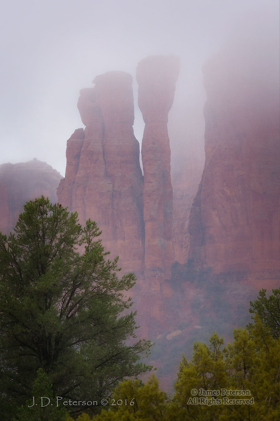 Winter Rain on Cathedral Rock ©2016 James D Peterson.  Low Clouds and a light drizzle combine to cast this iconic Sedona formation in a mystical light.