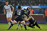 David Denton of Bath Rugby takes on the Newcastle Falcons defence. Aviva Premiership match, between Newcastle Falcons and Bath Rugby on January 2, 2016 at Kingston Park in Newcastle upon Tyne, England. Photo by: Patrick Khachfe / Onside Images