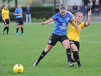 20161029 - ZWEVEZELE , BELGIUM : Zwevezele's Celine Vandekerckhove (R) and Club Brugge's Ellen Martens (L)  pictured during a soccer match between the women teams of KSK Zwevezele and Club Brugge  , during the seventh matchday in the 2016-2017  Tweede klasse - Second Division season, Saturday 29 October 2016 . PHOTO SPORTPIX.BE | DIRK VUYLSTEKE