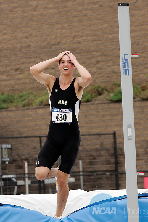 29 MAY 2010: Dylan Moore (430) of American International College reacts to not clearing the bar while competing in the men's high jump  during the Division II Men's and Women's Track and Field Championship held at the Irwin Belk Complex on the Johnson C. Smith University campus in Charlotte, NC. Jason Miczek / NCAA Photos