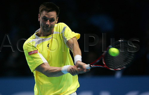 23.11.2010 Barclays ATP World Tour Finals from the O2 in London, day three. Robin Soderling in action against David Ferrer