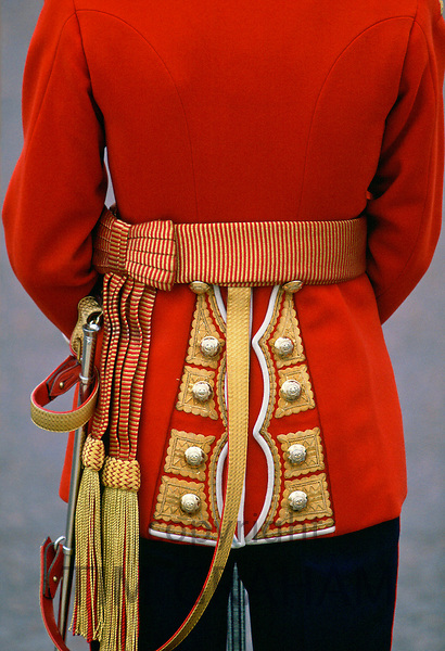 A back view of the Irish Guards worn on parade in London.