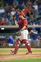 Clearwater Threshers catcher Edgar Cabral (30) signals to the defense during a game against the Dunedin Blue Jays on April 6, 2018 at Spectrum Field in Clearwater, Florida.  Clearwater defeated Dunedin 8-0.  (Mike Janes/Four Seam Images)