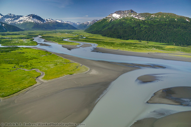 Aerial of Turnagain Arm, along the New Seward Highway, just south of Anchorage.