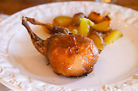Chateau Rives-Blanques. Limoux. Languedoc. Roast grilled quail stuffed with foie gras duck liver served with potatoes on a white plate. France. Europe.
