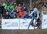 January 10, 2016 - Asheville, North Carolina, U.S. -  Trek Factory cyclist, Katie Compton, negotiates a steep downhill turn on her way to victory during the USA Cycling Cyclo-Cross National Championships at the historic Biltmore Estate, Asheville, North Carolina.  Katie Compton wins the Women's Elite U.S. Cyclo-Cross Championship.
