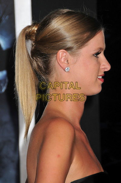 "NICKY HILTON .""The Final Destination"" Los Angeles Premiere held at Mann's Village Theatre, Westwood, CA, USA, 27th August 2009..portrait headshot hair up earrings strapless black profile ponytail diamond diamonds studs .CAP/ADM/BP.©Byron Purvis/Admedia/Capital Pictures"