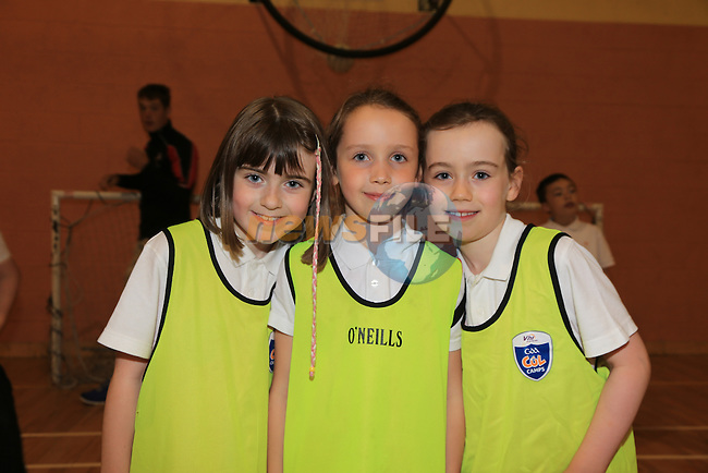Rachel tormey<br /> Eva o donaghue<br /> Sarah mc grath <br /> at the GAA coaching in Collon NS<br /> Picture:  Fran Caffrey / www.newsfile.ie