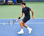 August  18, 2018:  Roger Federer (SUI) defeated David Goffin (ESP) 7-6, 1-1, when Goffin retired at the Western & Southern Open being played at Lindner Family Tennis Center in Mason, Ohio. ©Leslie Billman/Tennisclix/CSM