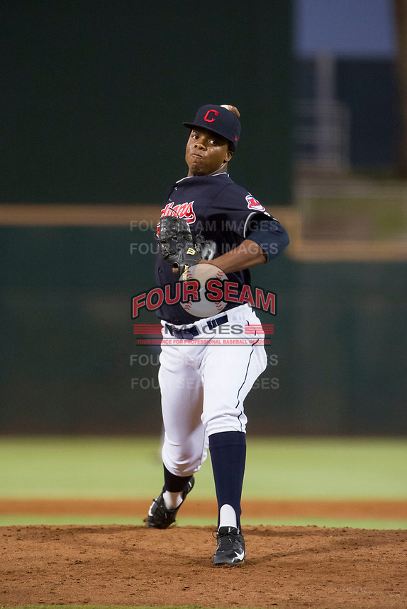 AZL Indians relief pitcher Juan Mota (54) delivers a pitch to the plate against the AZL Rangers on August 26, 2017 at Goodyear Ball Park in Goodyear, Arizona. AZL Indians defeated the AZL Rangers 5-3. (Zachary Lucy/Four Seam Images)