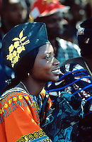 Sierra Leone. Northern province. Port Loko. A beautiful black woman smiles during the graduation of the Caritas trainees (one year program). © 2002 Didier Ruef
