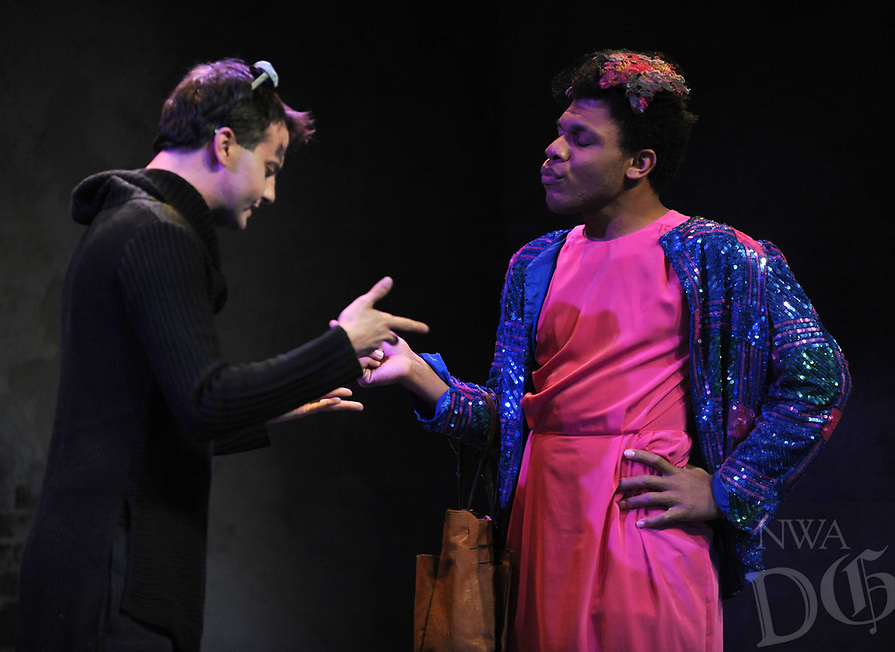 NWA Democrat-Gazette/ANDY SHUPE<br /> Jeremy Stuthard (left) and Trey Smith rehearse a scene Tuesday, March 7, 2017, in the University of Arkansas' production of &quot;Angels in America Part II&quot; in the Global Campus in Fayetteville.