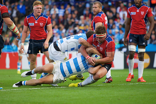 11.10.2015. King Power Stadium, Leicester, England. Rugby World Cup. Argentina versus Namibia. Argentina scrum-half Tomas Cubelli about to score a try.