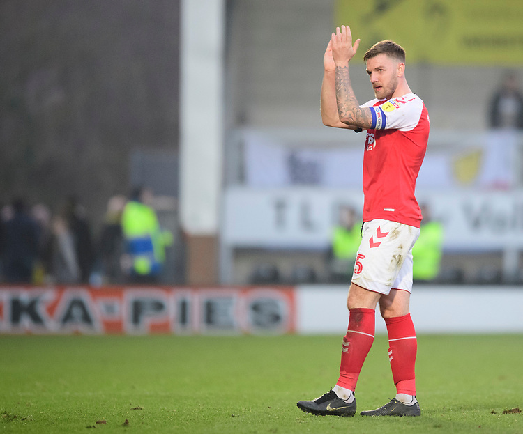 Fleetwood Town's Ashley Eastham applauds the fans at the final whistle<br /> <br /> Photographer Chris Vaughan/CameraSport<br /> <br /> The EFL Sky Bet League One - Saturday 23rd February 2019 - Burton Albion v Fleetwood Town - Pirelli Stadium - Burton upon Trent<br /> <br /> World Copyright © 2019 CameraSport. All rights reserved. 43 Linden Ave. Countesthorpe. Leicester. England. LE8 5PG - Tel: +44 (0) 116 277 4147 - admin@camerasport.com - www.camerasport.com