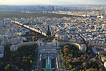 View from Eiffel Tower, the Palais de Chaillot and Jardin du Trocadero, Paris, France